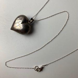 Vintage Sterling Silver Etched Heart Necklace